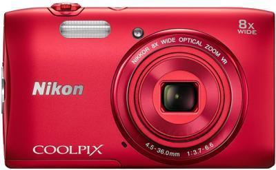 Компактный фотоаппарат Nikon Coolpix S3600 (Red) - вид спереди