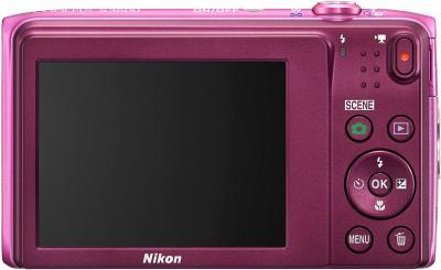Компактный фотоаппарат Nikon Coolpix S3600 (Pink) - вид сзади