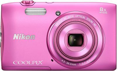 Компактный фотоаппарат Nikon Coolpix S3600 (Pink) - вид спереди