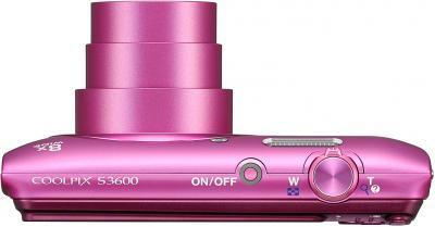 Компактный фотоаппарат Nikon Coolpix S3600 (Pink) - вид сверху