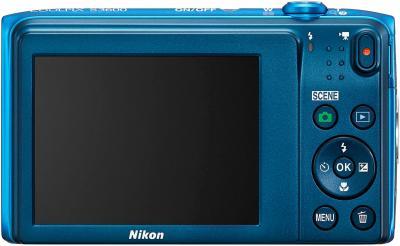 Компактный фотоаппарат Nikon Coolpix S3600 (Blue) - вид сзади