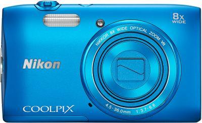 Компактный фотоаппарат Nikon Coolpix S3600 (Blue) - вид спереди с закрытым объективом
