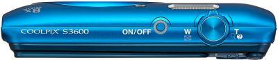 Компактный фотоаппарат Nikon Coolpix S3600 (Blue) - вид сверху