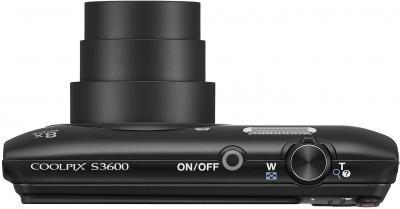 Компактный фотоаппарат Nikon Coolpix S3600 (черный) - вид сверху