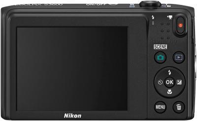 Компактный фотоаппарат Nikon Coolpix S3600 (черный) - вид сзади