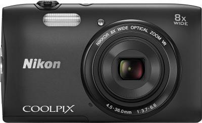 Компактный фотоаппарат Nikon Coolpix S3600 (черный) - вид спереди