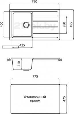Мойка кухонная Granicom G018-06 (шампань) - схема встраивания