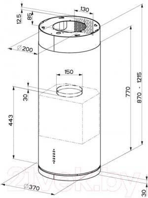 Вытяжка коробчатая Faber Cylindra ISOLA EG10 X A37 - технический чертеж
