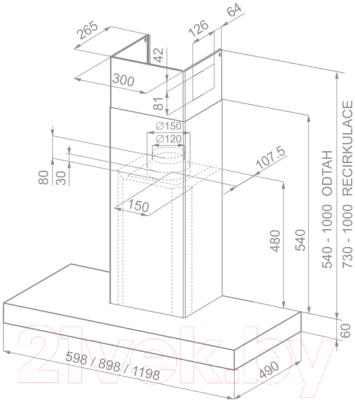 Вытяжка Т-образная Faber Stilo SP EG8 X A60