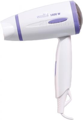 Компактный фен Smile HD 1034 (бело-фиолетовый) - общий вид