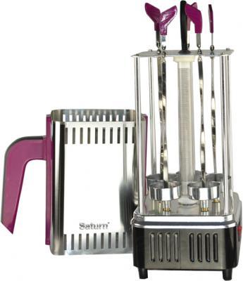 Электрошашлычница Saturn ST-FP8560 (розовый) - общий вид