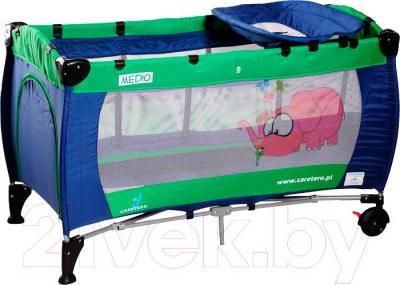Кровать-манеж Caretero Medio Classic (Blue-Green) - общий вид