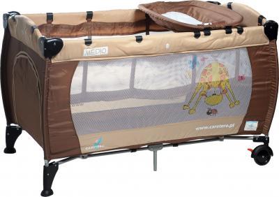 Кровать-манеж Caretero Medio Classic (Brown-Biege) - общий вид