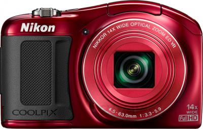 Компактный фотоаппарат Nikon Coolpix L620 (Red) - вид спереди