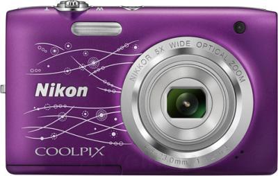 Компактный фотоаппарат Nikon Coolpix S2800 (Purple Patterned) - вид спереди