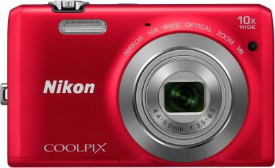 Компактный фотоаппарат Nikon Coolpix S6700 (Red) - вид спереди
