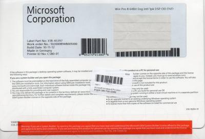 Операционная система Microsoft Windows Pro 8 64Bit Eng Intl 1pk DSP (FQC-05955) - упаковка
