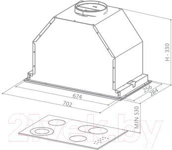 Вытяжка скрытая Faber Inca Lux EG8 X A70 - технический чертеж