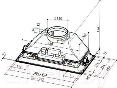 Вытяжка скрытая Faber Inca Smart HC X A52 - технический чертёж