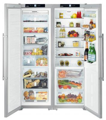 Холодильник с морозильником Liebherr SBSes 72630 - с открытыми дверьми
