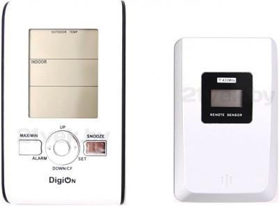 Метеостанция цифровая DigiOn PTE0102T - комплектация: основное устройство и внешний датчик