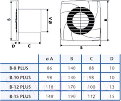 Вентилятор вытяжной Cata B-10 PLUS /С