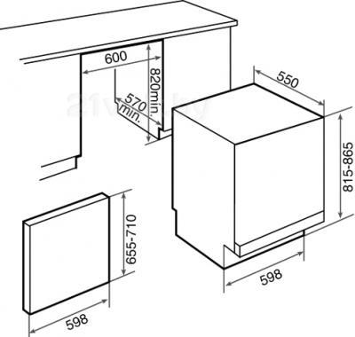 Посудомоечная машина Teka DW7 67 FI - схема встраивания