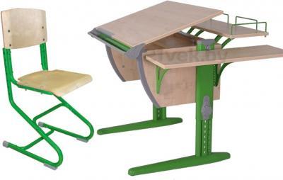 Парта+стул Дэми СУТ 14-02 (зеленый, клен) - общий вид