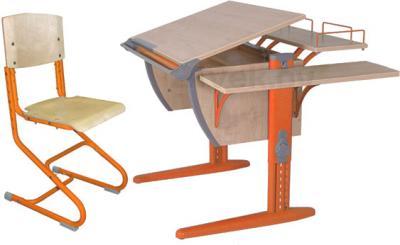 Парта+стул Дэми СУТ 14-02 (оранжевый, клен) - общий вид