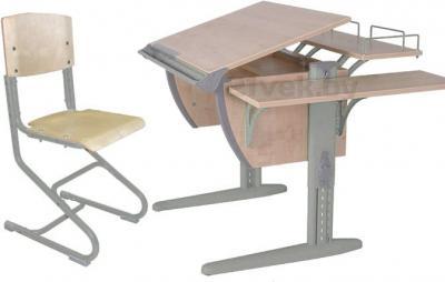 Парта+стул Дэми СУТ 14-02 (Бежевый и клен) - общий вид