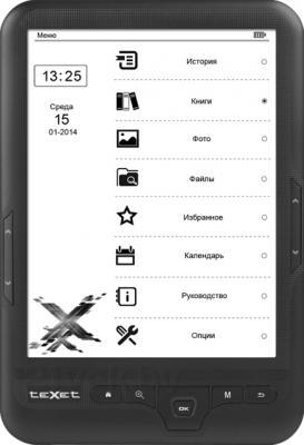 Электронная книга TeXet TB-418FL (черный) - фронтальный вид