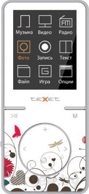 MP3-плеер TeXet T-48 (8Gb, бело-розовый) - вид спереди
