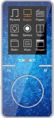 MP3-плеер TeXet T-48 (8Gb, синий) - вид спереди
