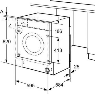 Стирально-сушильная машина Bosch WKD28540OE - схема встраивания