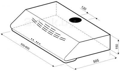 Вытяжка плоская KRONAsteel KAREN 600 (White) - схема