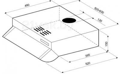 Вытяжка плоская KRONAsteel Lana 600 Push Button (Inox) - схема