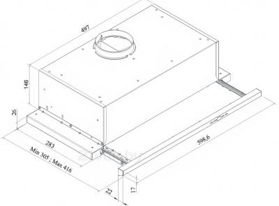 Вытяжка телескопическая KRONAsteel Kamilla Slim 60 3P (нержавеющая сталь) - схема