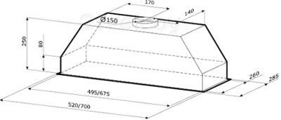 Вытяжка скрытая KRONAsteel Mini 60 (нержавеющая сталь) - схема