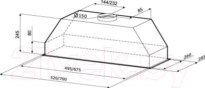 Вытяжка скрытая KRONAsteel Mini 90 (нержавеющая сталь)