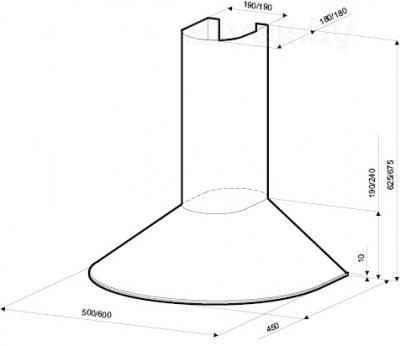 Вытяжка купольная KRONAsteel DIANA 500 (Inox) - схема