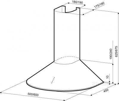 Вытяжка купольная Krona Diana 500 PB / 00014740 (нержавеющая сталь) - схема