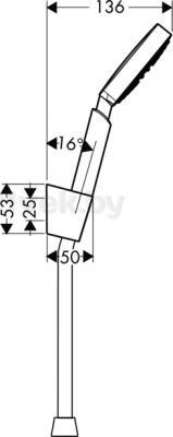 Душевой гарнитур Hansgrohe Raindance 27581000 - маштабный чертеж