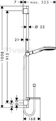 Душевой гарнитур Hansgrohe Raindance Select 26621400 - маштабный чертеж