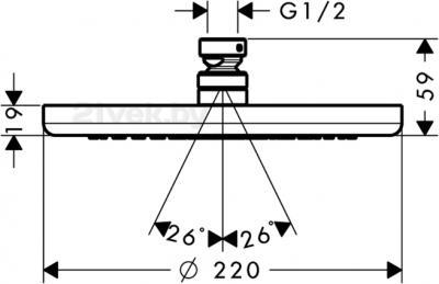 Верхний душ Hansgrohe Croma 26464000 - маштабный чертеж