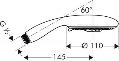 Душевой гарнитур Hansgrohe Raindance E 28502000 - маштабный чертеж