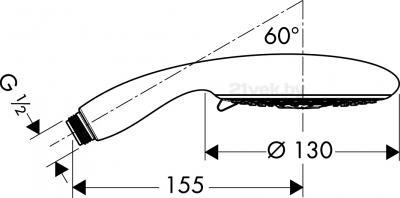 Душевой гарнитур Hansgrohe Raindance E 28507000 - маштабный чертеж