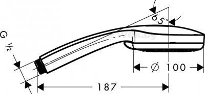 Душевой гарнитур Hansgrohe Croma 100 28535000 - маштабный чертеж