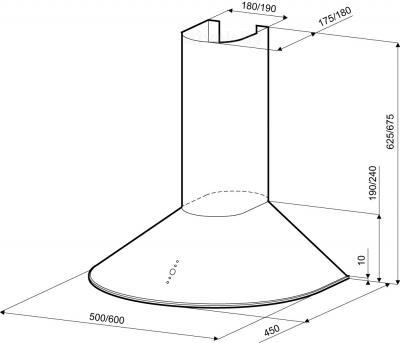 Вытяжка купольная KRONAsteel Diana 60 3P (нержавеющая сталь) - схема