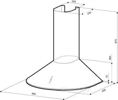 Вытяжка купольная KRONAsteel DIANA 900 3P (White) - схема