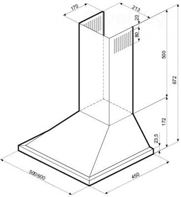 Вытяжка купольная Krona Bella 600 / 00013867 (металлик) - схема